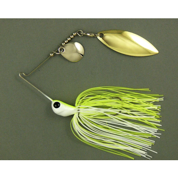 Ultra Tungsten T-Blade Spinnerbait 5/8oz White Chartreuse Double Willow Silver