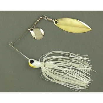 Ultra Tungsten T-Blade Spinnerbait 1/2oz Pearl White Double Willow Silver
