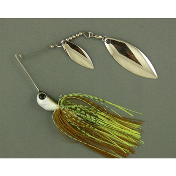 Ultra Tungsten T-Blade Spinnerbait 5/8oz Rock Bass Double Willow Silver