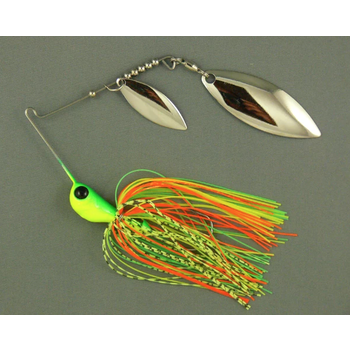 Ultra Tungsten T-Blade Spinnerbait 5/8oz Fire Tiger Double Willow Silver