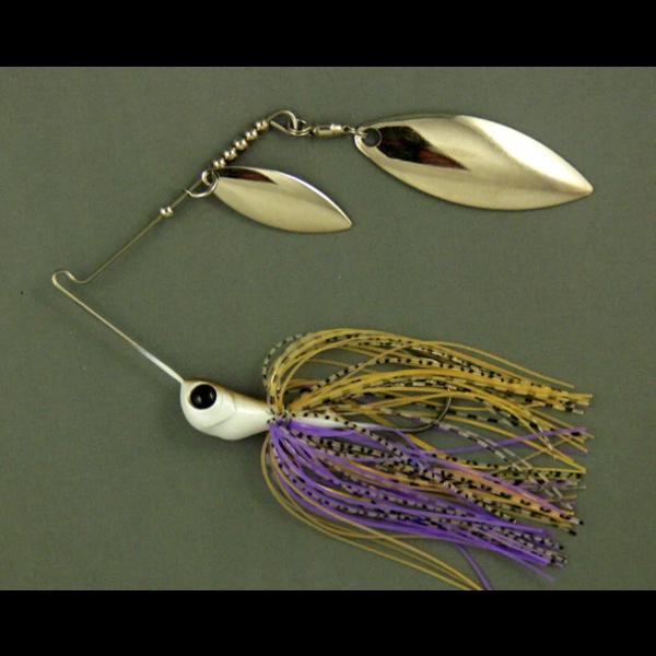 Ultra Tungsten T-Blade Spinnerbait 5/8oz Purple Ayu Double Willow Silver