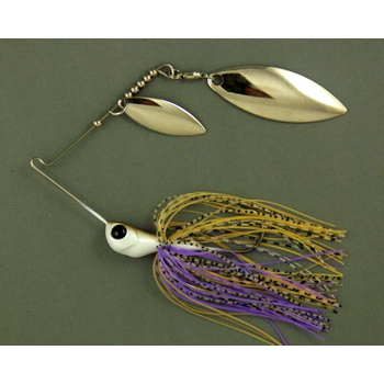 Ultra Tungsten T-Blade Spinnerbait 3/8oz Purple Ayu Double Willow Silver