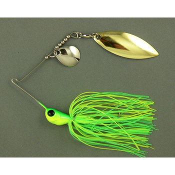 Ultra Tungsten T-Blade Spinnerbait 3/8oz Lemon Lime Double Willow,Silver