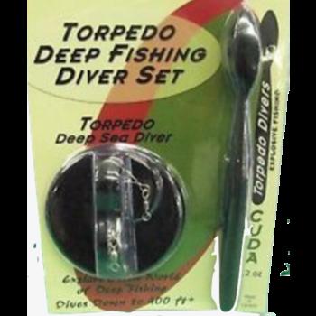 Torpedo Deep Fishing Diver Set Chrome Red