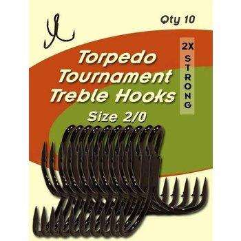 Torpedo Tournament Treble Hooks. Size 2/0