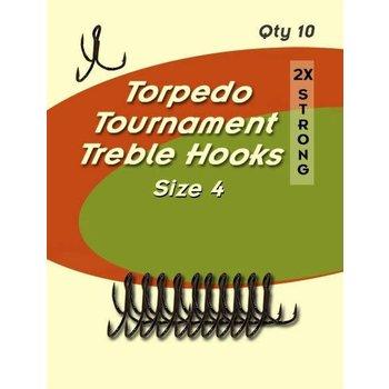Torpedo Tournament Treble Hooks. Size 4
