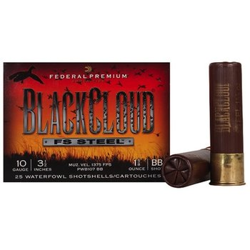 Federal Premium Black Cloud Ammo 10ga 3-1/2in 1-5/8oz BB Non-Toxic FlightStopper Steel Shot 25 Rounds