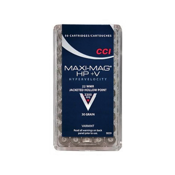 CCI Maxi-Mag +V Ammo 22 WMR 30gr Jacketed Hollow Point 50 Rounds