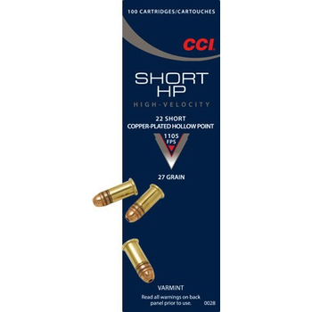 CCI 22 SR Ammo 27gr Plated Hollow Point 100 Rounds