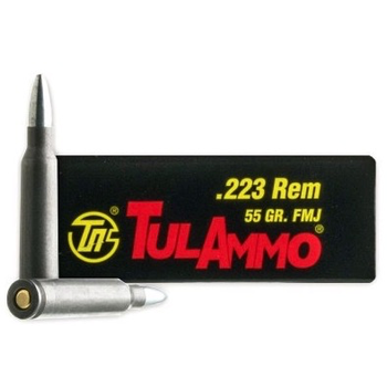 TulAmmo 223 Rem Ammo, 55gr HP BiMetal Jacket Steel Case 1000 Rounds