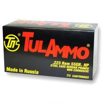 TulAmmo 223 Rem Ammo 55gr Hollow Point Steel Case 20 Rounds