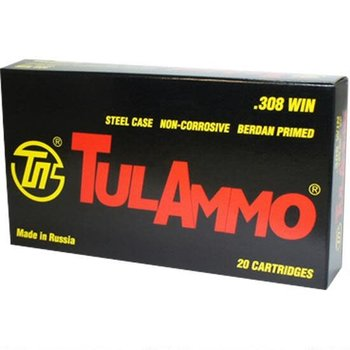 TulAmmo 308 Win Ammo 165gr SP Steel Case 20 Rounds
