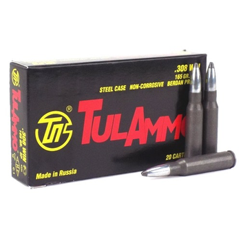 TulAmmo 308 Win Ammo 165gr SP Steel Case 500 Rounds