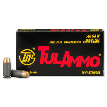 TulAmmo 40 S&W Ammo 180gr Full Metal Jacket 50 Rounds