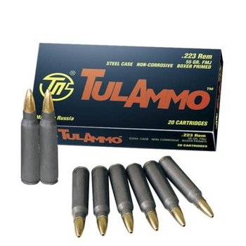 TulAmmo 223 Rem Ammo, 55gr Full Metal Jacket Steel Case 20 Rounds