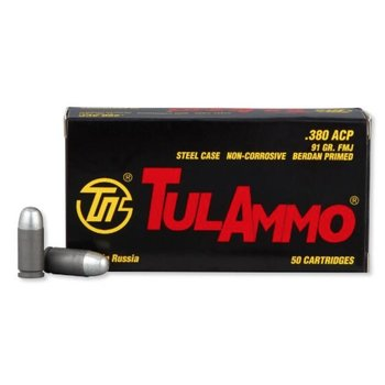 TulAmmo 380 Win Ammo 91gr FMJ Steel Case 50 Rounds