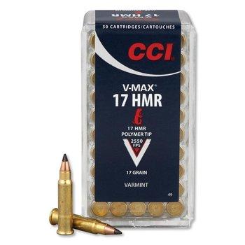 CCI V-Max Ammo 17 HMR 17gr Polymer Tip 2550fps 50 Rounds