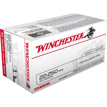 Winchester USA Ammo 22-250 Rem Jacketed Hollow Point 45gr 4000fps 40 Rounds
