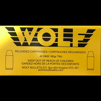 Wolf Remanufactured Handgun Ammo 40 S&W 180gr Wolf Brass Total Metal Jacket 50 Rounds