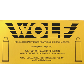 Wolf Remanufactured Handgun Ammo 357 Magnum 158gr Wolf Brass Total Metal Jacket 50 Rounds