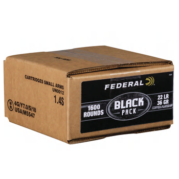 Federal Black Pack Ammo 22LR 36gr CPHP Box of 1600