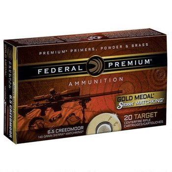 Federal Premium Gold Medal Sierra Matchking Ammo 6.5 Creedmoor 140gr 20 Rounds