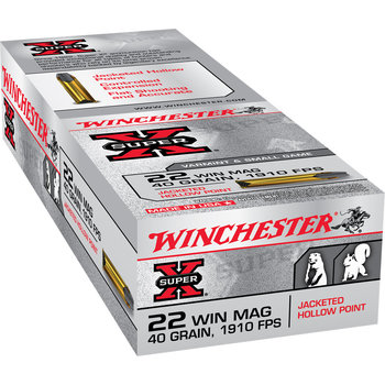 Winchester Super-X Ammo 22 Win Mag 40gr Jacketed Hollow Point 50 Rounds