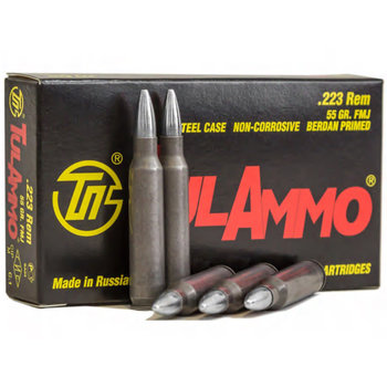 TulAmmo 223 Rem Ammo 55gr Full Metal Jacket BiMetal Steel Case 1000 Rounds