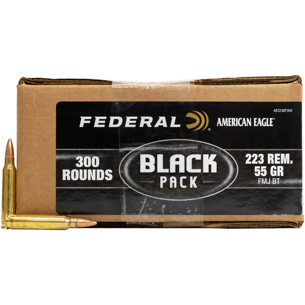Federal American Eagle Rifle Black Pack Ammunition AE223BF300, 223 Remington, Full Metal Jacket (FMJ), 55 GR, 3240 fps, 300 Rd/bx