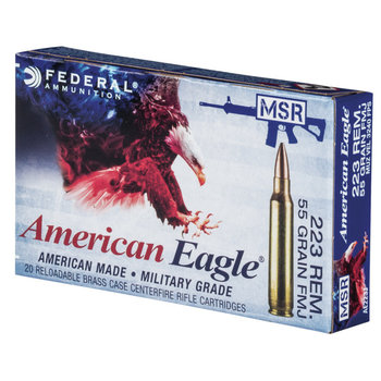 Federal American Eagle Rifle Ammunition AE223J, 223 Remington, FMJ Boat-Tail, 55 GR, 3240 fps, 20 Rd/bx