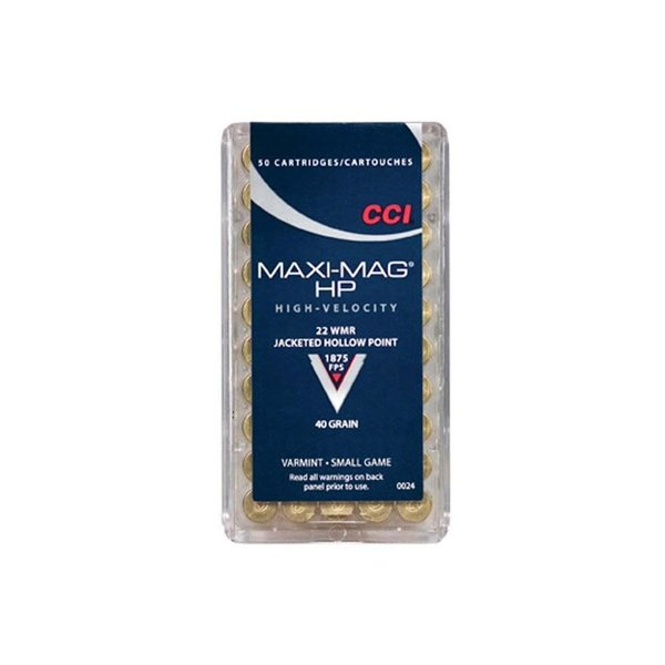 CCI Maxi-Mag HP Ammo 22 Win Mag 40gr JHP 1875fps 50 Rounds