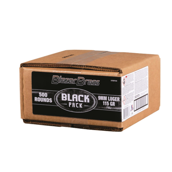 CCI Blazer Brass 9mm Ammunition Black Pack 5200BF500 115 Grain Full Metal Jacket Bulk Pack of 500 Rounds