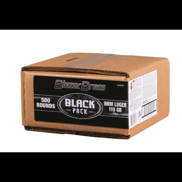 CCI Blazer Brass 9mm Ammunition Black Pack 5200BF500 115 Grain Full Metal Jacket Bulk Pack of 500 Rounds