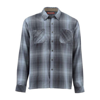 Simms Gallatin Flannel Long Sleeve Shirt, Dark Moon Plaid, M