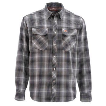 Simms Gallatin Flannel Long Sleeve Shirt, Raven Plaid, M