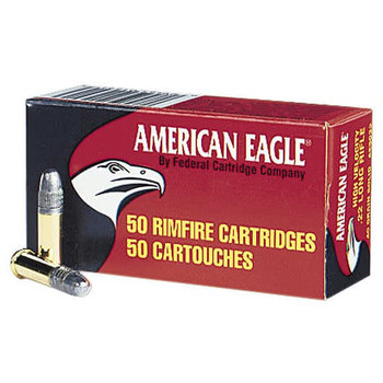 Federal American Eagle Rimfire Ammunition AE5022, 22 Long Rifle, Lead Round Nose (RN), 40 GR, 1240 fps, 50 Rd/bx