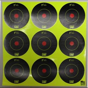 "Pro-Shot Splattershot Bullseye Targets, 2"", Green, 12 sheets / 108 targets per pack."