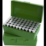 MTM Case-Gard Pistol Flip Top 50 Rd Ammo Box Green 25 Auto-32 Long Colt/ 22WMR/17HMR