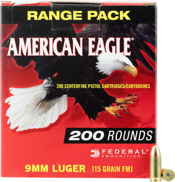 Federal American Eagle Pistol Ammunition AE9DP200, 9mm Full Metal Jacket  (FMJ), 115 Gr, 1180 fps, 200 Rd/bx