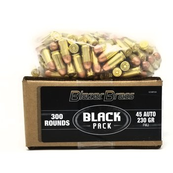 CCI CCI Blazer Brass 45 Auto Ammunition Black Pack 5230BF300 230 Grain Full Metal Jacket 300 Rounds