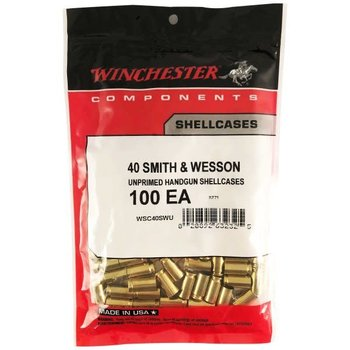 Winchester Unprimmed Brass, 40 Smith & Wesson 100 Pc