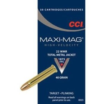 CCI Maxi-Mag High Velocity Ammo 22 WMR 40gr Total Metal Jacket 50 Rounds