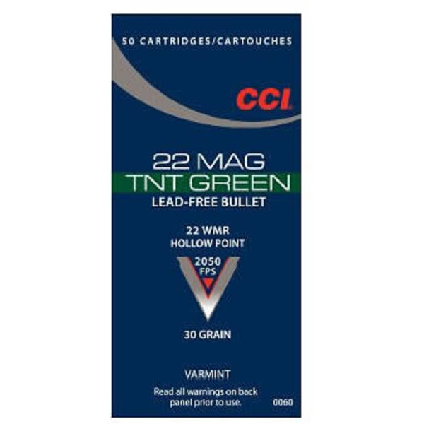 CCI 22 Mag TNT Green Ammop 22 WMR 30gr Lead Free Hollow Point 2050fps 50 Rounds