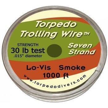 Torpedo Trolling Wire. 7 Strand 30lb 1000 Feet Smoke