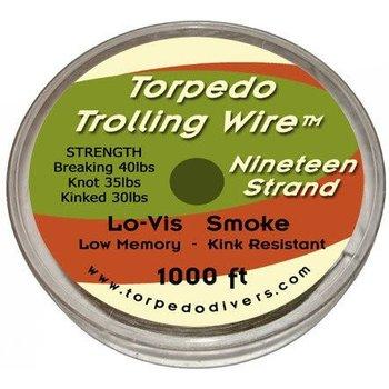 Torpedo Trolling Wire. 19 Strand 1000 Feet Smoke