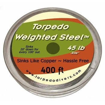 Torpedo Weighted Steel Trolling Wire. 45lb 400 Feet