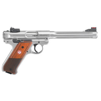 "Ruger Model Mark IV Hunter Semi Auto Pistol 22 LR 6.88"" 10rd S/S Fluted Target, Wood Grp"