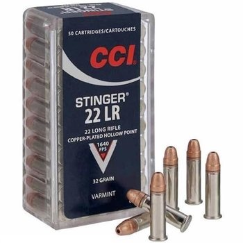 CCI CCI 22 Long Rifle Stinger Hyper Velocity Copper Plated Hollow Point 32gr 1640fps Per Box