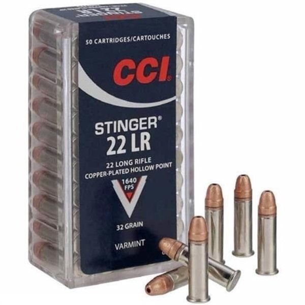 CCI 22 Long Rifle Stinger Hyper Velocity Copper Plated Hollow Point 32gr 1640fps Per Box