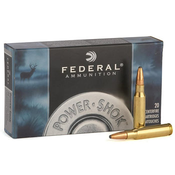 Federal Power-Shok Rifle Ammo 222 Remi 50gr Soft Point 3140fps, 20 Rounds